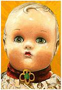 Linda Apple Prints - Antique Doll oil painting Print by Linda Apple
