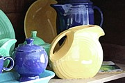 Old Pitcher Prints - Antique Fiesta Dishes II Print by Marilyn West