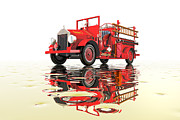 Antique Digital Art Prints - Antique fire engine Print by Carol and Mike Werner
