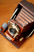 Antique Photography Framed Prints - Antique Folding Camera Framed Print by Rebecca Brittain