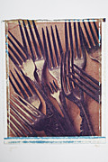 Transfer Prints - Antique Forks Print by Garry Gay