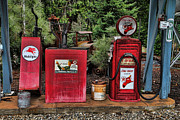 Old Antique Oil Drums Prints - Antique Gas Pumps Print by Edward R Wisell