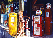 Antiques Paintings - Antique Gas Pumps by Phil Hopkins