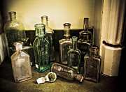 Stopper Prints - Antique Glass Bottles Print by Marilyn Hunt