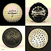 Sports Memorabilia Posters - Antique Golf Balls Poster by George Pedro