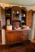 Crocks Photo Prints - Antique Hoosier Cabinet Print by Carmen Del Valle