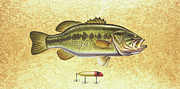 Lure Painting Posters - Antique Lure and Bass Poster by JQ Licensing