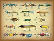 Jon Q Wright Posters - Antique Lures Brown Poster by JQ Licensing