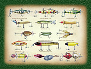 Jon Q Wright Posters - Antique Lures Green Crackle Poster by JQ Licensing