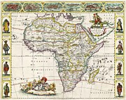 Antique Map Drawings Framed Prints - Antique Map of Africa Framed Print by Dutch School