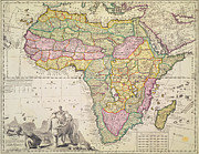 Lion Drawings - Antique Map of Africa by Pieter Schenk