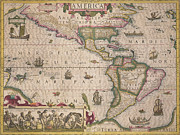 Charts Drawings Posters - Antique Map of America Poster by Jodocus Hondius