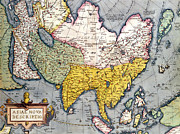 Historic Drawings Prints - Antique Map of Asia Print by Claes Jansz