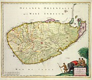Antique Map Drawings Framed Prints - Antique Map of Ceylon Framed Print by Nicolas Visscher