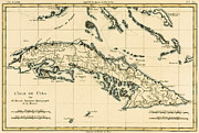 Old-fashioned Drawings Posters - Antique Map of Cuba Poster by Guillaume Raynal