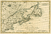 Old-fashioned Drawings Posters - Antique Map of Eastern Canada Poster by Guillaume Raynal