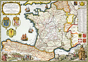 France Map Posters - Antique Map of France Poster by French School