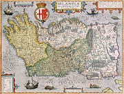 Antiques Drawings Prints - Antique Map of Ireland Print by  English School