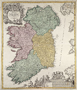 Old Map Drawings Framed Prints - Antique Map of Ireland showing the Provinces Framed Print by Johann Baptist Homann