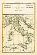 Vintage Map Drawings - Antique Map of Italy by Guillaume Raynal