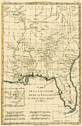 Alabama Drawings Framed Prints - Antique Map of Louisiana and Florida Framed Print by Guillaume Raynal
