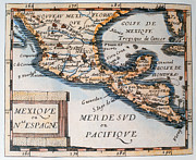 17th Century Framed Prints - Antique Map of Mexico or New Spain Framed Print by French School