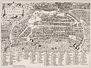 Maps Painting Prints - Antique Map of Naples Print by Italian School