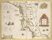 Historic Ship Drawings Prints - Antique Map of New Belgium and New England Print by Joan Blaeu