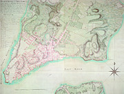 Beach Drawings Prints - Antique Map of New York Print by English School
