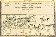 Globe Drawings Framed Prints - Antique Map of North Africa Framed Print by Guillaume Raynal