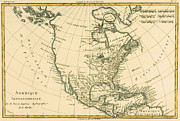Vintage Map Drawings Posters - Antique Map of North America Poster by Guillaume Raynal