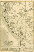 Lake Drawings Framed Prints - Antique Map of Peru Framed Print by Guillaume Raynal