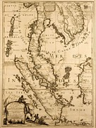 Old Map Drawings Prints - Antique Map of South East Asia Print by French School
