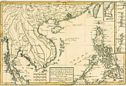 Gulf Drawings Framed Prints - Antique Map of South East Asia Framed Print by Guillaume Raynal