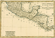 Sea Shore Drawings Posters - Antique Map of Southern Mexico Poster by Guillaume Raynal