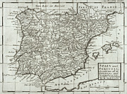 Bay Drawings - Antique Map of Spain and Portugal by Hermann Moll