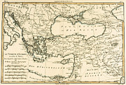 Vintage Map Drawings - Antique Map of Turkey by Guillaume Raynal
