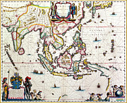 Illustrated Drawings Framed Prints - Antique map showing Southeast Asia and The East Indies Framed Print by Willem Blaeu