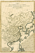 Old Map Drawings Prints - Antique Map The Chinese Empire Print by Guillaume Raynal