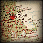 Road Map Art - Antique Map with a Heart over the city of Boston in Massachusett by ELITE IMAGE photography By Chad McDermott