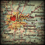 London Map Posters - Antique Map with a Heart over the city of London in England Grea Poster by ELITE IMAGE photography By Chad McDermott
