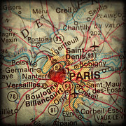 Road Map Art - Antique Map with a Heart over the city of Paris in France by ELITE IMAGE photography By Chad McDermott
