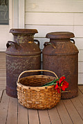 Nostalgia Photos - Antique Milk Cans by Carmen Del Valle