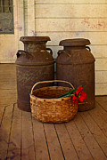 Antique Collectables Posters - Antique Milk Cans On Porch Poster by Carmen Del Valle