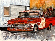 Autos Drawings - Antique Old Truck Painting by Derek Mccrea