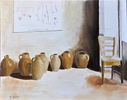 Antiques Paintings - Antique Olive Oil Jars by Tom Amiss