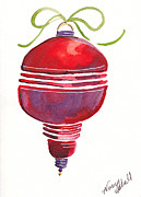 Christmas Notecard Originals - Antique Ornament In Red by Michele Hollister - for Nancy Asbell