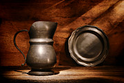 Old Pitcher Photos - Antique Pewter Pitcher and Plate by Olivier Le Queinec