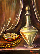 Khatuna Buzzell Metal Prints - Antique Pocket Watch Crystal Vase Metal Print by Khatuna Buzzell