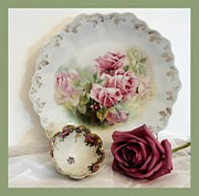 Sage Green Posters - Antique Rose Plate and Fingerbowl Poster by Marsha Heiken
